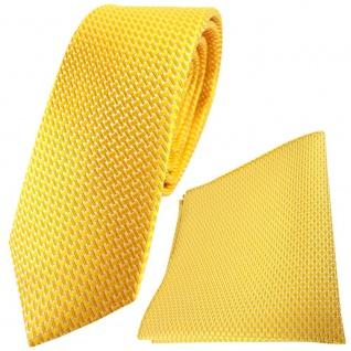 schmale TigerTie Seidenkrawatte + Einstecktuch in gelb silber gemustert
