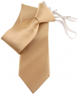 TigerTie Security Satin Seidenkrawatte in gold uni Gummizug - Krawatte Seide Tie