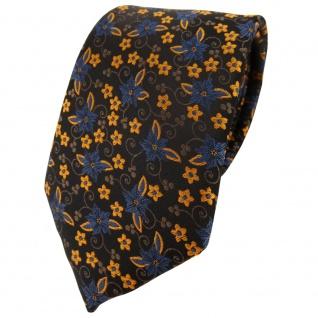 TigerTie Designer Krawatte in braun dunkelbraun bronze gold blau geblümt