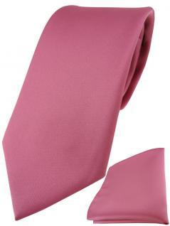 TigerTie Designer Krawatte + TigerTie Einstecktuch in hellpink einfarbig uni