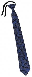 TigerTie Security Sicherheits Krawatte in blau schwarz silber Paisley gemustert