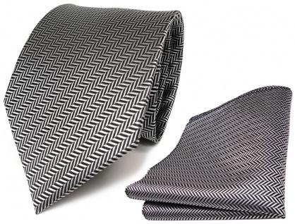 TigerTie Set Krawatte + Einstecktuch silber grau-schwarz gestreift