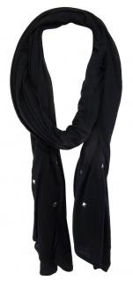 TigerTie Schal in schwarz einfarbig mit Nieten gemustert