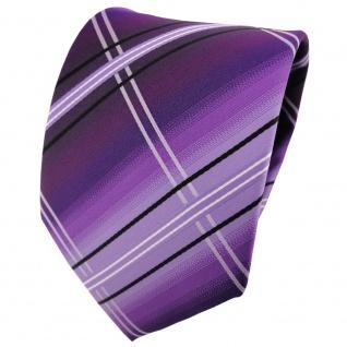 schöne TigerTie Designer Krawatte lila flieder schwarz silberweiß gestreift