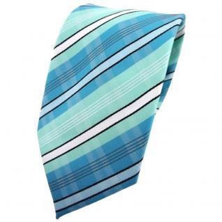 TigerTie Krawatte türkis mint türkisblau weiß schwarz grau gestreift - Binder