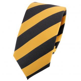 Schmale TigerTie Krawatte gelb goldgelb anthrazit schwarz gestreift - Schlips