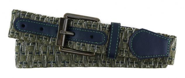 TigerTie - Stoffgürtel in oliv anthrazit weiss gemustert - Bundweite 90 cm
