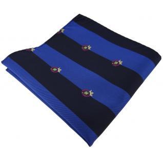 Einstecktuch in blau saphirblau dunkelblau gestreift mit Wappen - Tuch Polyester