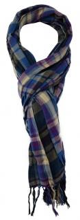TigerTie - gecrashter Schal in blau lila beige grau marine gemustert