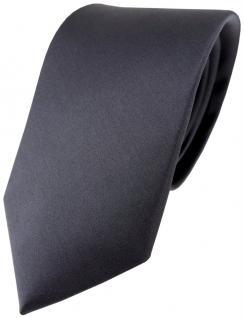 TigerTie Satin Seidenkrawatte in anthrazit einfarbig Uni - Krawatte 100% Seide