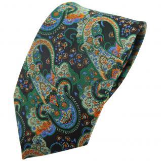 TigerTie Krawatte grün dunkelgrün orange blau Paisley - Binder Tie