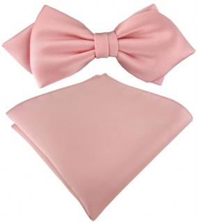 vorgebundene TigerTie Spitzfliege + Einstecktuch in rosa Uni einfarbig + Box