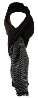 TigerTie Schal in dunkelbraun braun silber gemustert mit kleinen Fransen
