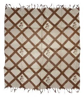 Halstuch in rostbraun beige Motiv Zylinder-Totenkopf gemustert mit Fransen