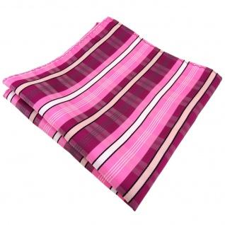 Einstecktuch lila violett rosa pink weiß schwarz grau gestreift - Tuch Polyester