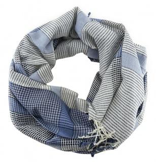 Schal in blau hellblau dunkelblau beige kariert mit Fransen - Gr. 180 x 50 cm