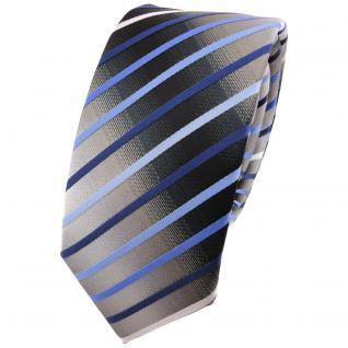Schmale TigerTie Krawatte blau hellblau silber grau weiß schwarz gestreift