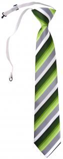 TigerTie Security Sicherheits Krawatte in grün dunkelgrün grau weiss gestreift