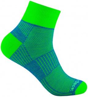 WRIGHTSOCK Profi Sportsocke Coolmesh II blau-neongrün - anti-blasen Socken Gr.L