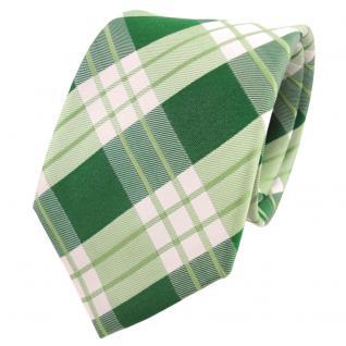 TigerTie Designer Seidenkrawatte grün hellgrün weiß kariert - Krawatte Seide