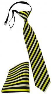 Kinderkrawatte + Einstecktuch gelb schwarz gestreift - vorgebunden mit Gummizug