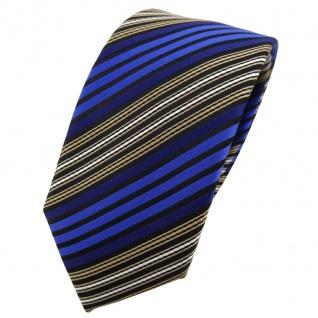 Schmale TigerTie Krawatte blau braun schwarz silber gestreift - Binder Tie