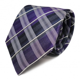 TigerTie Seidenkrawatte lila blau dunkelblau weiss gestreift - Krawatte Seide