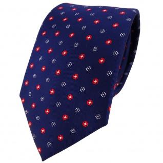 TigerTie Designer Krawatte in marine dunkelblau rot silber gepunktet