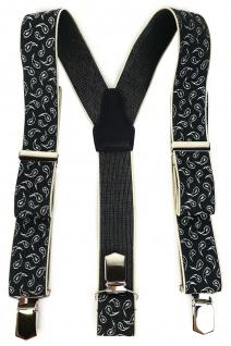 TigerTie Unisex Hosenträger mit 3 extra starken Clips - anthrazit creme Paisley