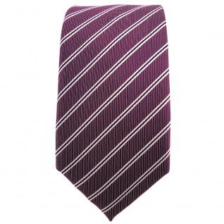 Schmale TigerTie Krawatte pflaume violett silberweiß schwarz gestreift - Schlips - Vorschau 2