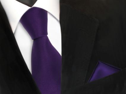 TigerTie Krawatte + Einstecktuch in lila dunkellila uni - Binder Tie Polyester