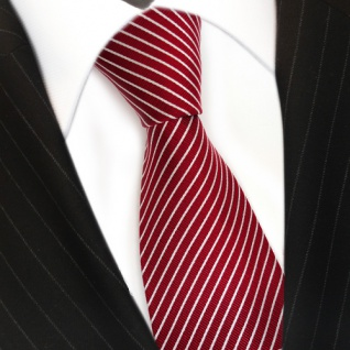 TigerTie Seidenkrawatte in rot signalrot weiss silber gestreift - Krawatte Seide - Vorschau 3