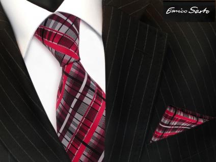 Enrico Sarto Seidenkrawatte & Einstecktuch rot bordeaux silber schwarz kariert