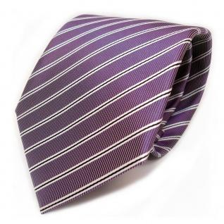 Schicke Designer Krawatte - Schlips Binder lila schwarz weiss gestreift - Tie