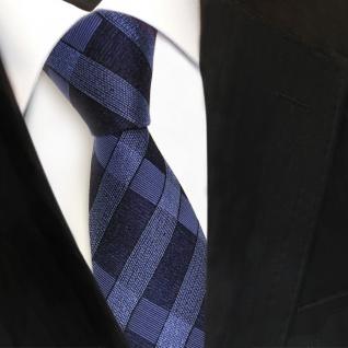 Designer Seidenkrawatte blau graublau fernblau schwarz kariert - Krawatte Seide