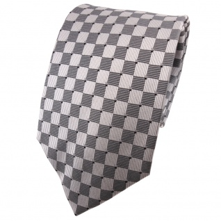 TigerTie Seidenkrawatte silber grau schwarz kariert - Krawatte 100% Seide