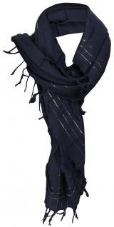 Halstuch in blau marine silber mit Fransen - Glitzerfaden eingewebt