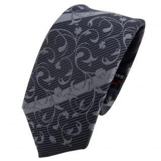 Schmale TigerTie Krawatte anthrazit grau dunkelgrau gestreift - Schlips Tie