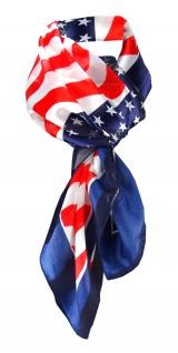 Halstuch in marine blau rot silber weiss US-Style, Chiffon Satin, Gr. 100x100 cm