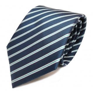 Schicke Seidenkrawatte türkis blaugrün silber gestreift - Krawatte 100 % Seide