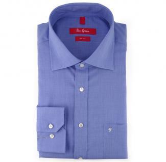 Ben Green Herrenhemd blau Uni langarm bügelfrei - New-Kent-Kragen Hemd Gr.45
