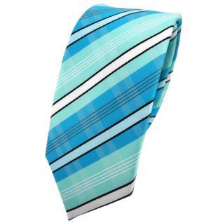 Schmale TigerTie Krawatte türkis mint türkisblau weiß schwarz grau gestreift