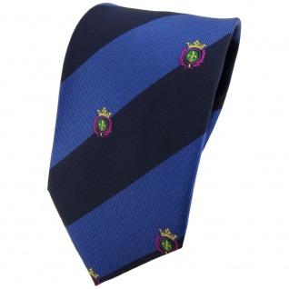 TigerTie Seidenkrawatte blau dunkelblau lila grün gestreift Wappen - Krawatte
