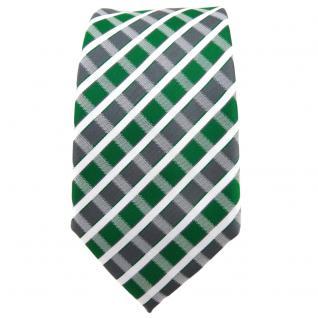 Schmale TigerTie Krawatte grün grau silber weiss gestreift - Schlips Binder - Vorschau 2