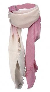 Halstuch - Farbverlauf rosa zartrosa beige mit Fransen - Größe 100 x 100 cm