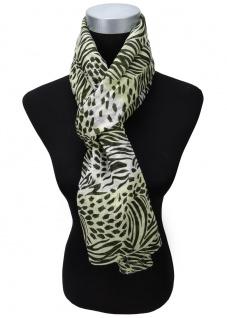 Viskose Schal in grün schwarz weiß gemustert - Gr. 180 x 50 cm - Halstuch