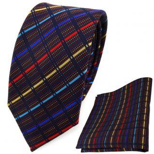 schmale TigerTie Krawatte + Einstecktuch gold rot blau türkis schwarz gestreift
