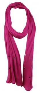 TigerTie Schal in pink magenta einfarbig mit Nieten gemustert