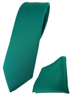 schmale TigerTie Designer Krawatte + Einstecktuch in petrolgrün einfarbig uni