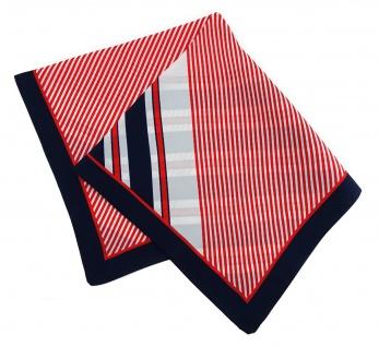 TigerTie Seiden Nickituch rot schwarzblau weissgrau gestreift - Größe 50 x 50 cm